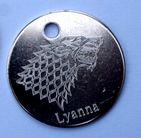 STARK SIGIL DOG KEY TAG PERSONALISED WITH DOGS NAME & CONTACT DETAILS 3 SIZES